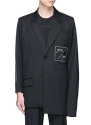 The World Is Your Oyster Slogan Embroidered Asymmetric Twill Blazer Black