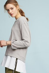Anthropologie Layered Poplin Sweatshirt Taupe