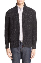 Inis Meain Men's Donegal Aran Cable Knit Zip Cardigan