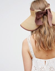 Liquorish Vintage Style Straw Visor With Bow Detail At Back Natural Coffee Beige