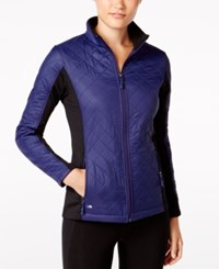 Ideology Colorblocked Quilted Jacket Only At Macy's Rich Plum