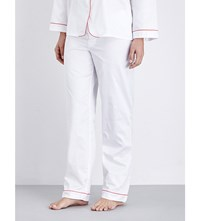Bodas Cotton Sateen Pyjama Trousers White With Red