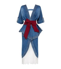 Johanna Ortiz Belted Trench Coat With Lace Underskirt Blue
