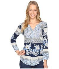 Lucky Brand Printed Knit Top Blue Multi Women's Clothing