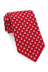 Tailorbyrd Silk Sailboat Tie Red