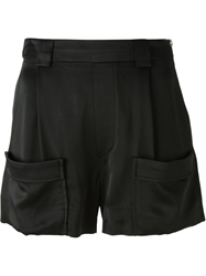 Band Of Outsiders Satin Side Zip Shorts Black