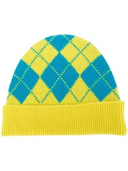 Pringle Of Scotland Argyle Intarsia Beanie Hat Yellow