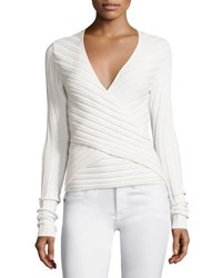 Cinq A Sept Titania Ribbed Wrap Front Top Ivory