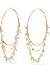 Chan Luu Mystic Gold Tone And Crystal Hoop Earrings One Size