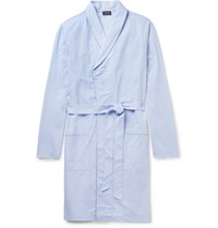 Hanro Contrast Tipped Cotton Jacquard Robe Light Blue