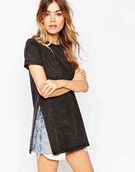 Asos Tunic T Shirt With Side Splits In Acid Wash Charcoal