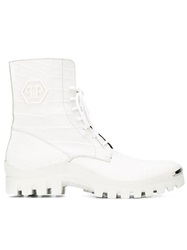 Philipp Plein Lace Up Boots White