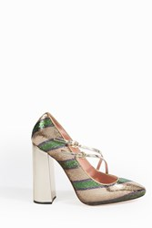 Rochas Women S Striped Sequin Mary Jane Pumps Boutique1 Gold