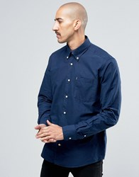 Barbour Oxford Shirt In Tailored Slim Fit Blue Midnight Blue