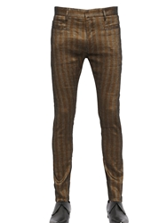 Haider Ackermann Striped Stretch Linen And Cotton Pants Brown