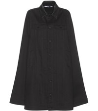Givenchy Denim Cape With Leather Collar Black