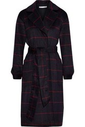 Rebecca Minkoff Woman Cecilia Checked Brushed Wool Blend Coat Midnight Blue