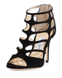 Jimmy Choo Ren Suede Caged 100Mm Sandal Black
