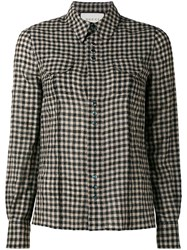 Gucci Floral Embroidered Check Shirt Black