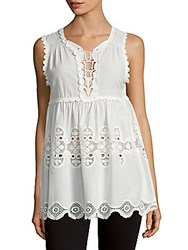 Max Studio Embroidered Cotton Tunic Ivory