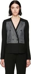Mm6 Maison Margiela Black And Gray Patch Wool Blazer