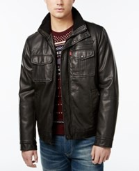 Levi's Faux Leather Military Bomber Jacket Black