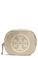 Tory Burch Logo Perforated Metallic Leather Cosmetics Case