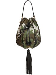Miu Miu Camo Print Nylon Bucket Bag Military Green