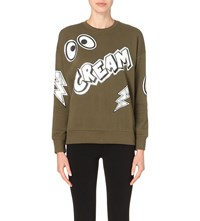 Mini Cream Logo Print Cotton Jersey Sweatshirt Khaki