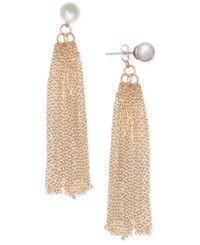 Inc International Concepts Robert Rose For Imitation Pearl Tassel Drop Earrings Only At Macy's Gold
