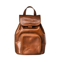 Maxwell Scott Bags Luxury Italian Leather Ladies Small Rucksack Popolo Chestnut Tan Brown
