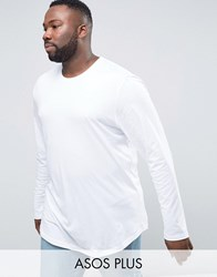 Asos Plus Super Longline Long Sleeve T Shirt With Curved Hem In White White