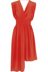 Vionnet Pleated Silk Crepe Dress Tomato Red