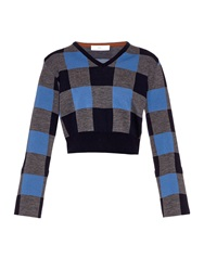 Toga Cropped Plaid Wool Blend Sweater