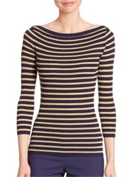 Michael Kors Metallic Striped Merino Wool Boatneck Sweater Maritime Gold