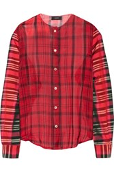 Joseph Asher Checked Silk Organza And Satin Twill Shirt Red