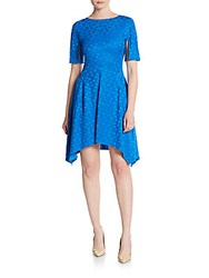 Stella Mccartney Tonal Floral Print Fit And Flare Dress Blue