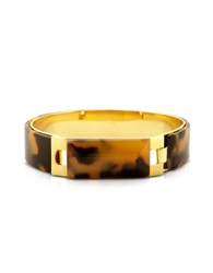 Pluma Tortoise Resin And Golden Brass Bracelet