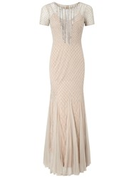 Adrianna Papell Short Sleeve Beaded Gown Silver Nude