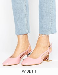 Lost Ink Wide Fit Slingback Mid Heeled Shoes Nude Beige