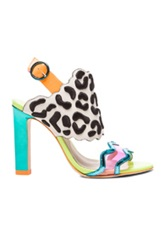 Sophia Webster Dionne Leopard Leather Heels In Neon Metallics Animal Print Abstract
