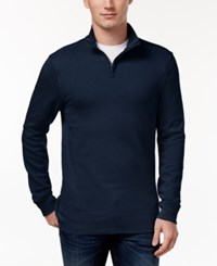Club Room Men's Quarter Zip Sweatshirt Only At Macy's Navy Blue