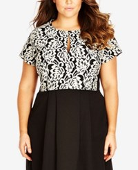 City Chic Plus Size Printed Keyhole Crop Top Black