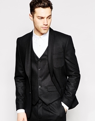 Peter Werth Premium Wool Suit Jacket With Shawl Lapel In Slim Fit Black