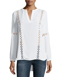 Laundry By Shelli Segal Crochet Trim Long Sleeve Tunic Optic White