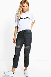 Boohoo Ripped Knee Boyfriend Jeans Grey