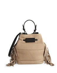 Kenneth Cole Fringe Leather Bucket Bag Mushroom