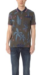 Paul Smith Ps By Floral Print Regular Fit Polo Khaki