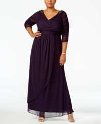 Adrianna Papell Plus Size Embellished Faux Wrap Gown Aubergine