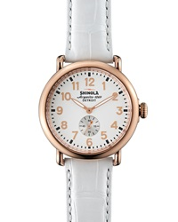 Shinola Runwell Rose Golden Watch With Alligator Strap 41Mm